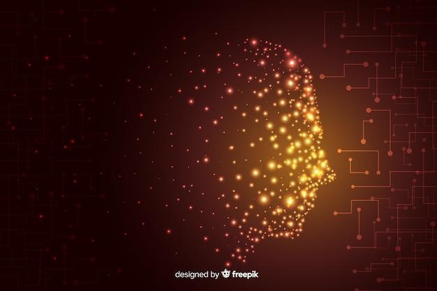 Gezicht gemaakt van deeltjes achtergrond