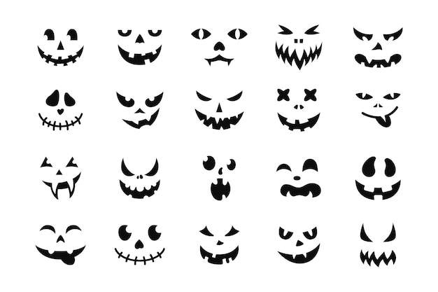 Gezicht halloween pictogrammenset zwart griezelig glimlach glimlachen masker pompoen grijns schattig en grappig snuit