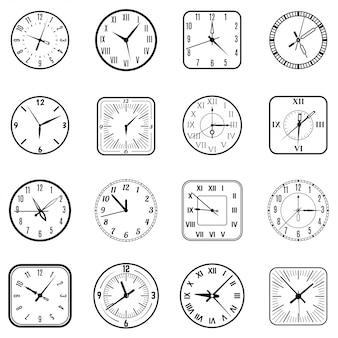 Gezicht klok pictogram platte set
