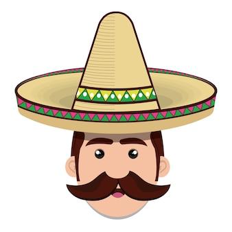 Gezicht man mexicaanse hoed en snor