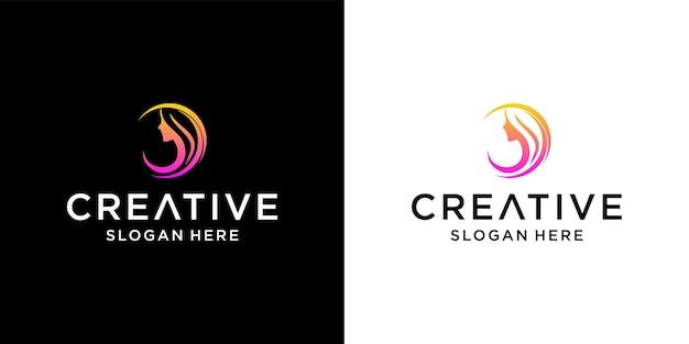 Gezicht meisje logo ontwerp