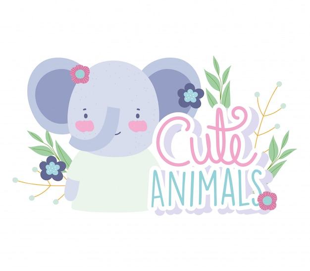 Gezicht olifant bloemen gebladerte cartoon schattige dieren karakters aard