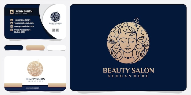 Gezicht schoonheid natuur voor schoonheidssalon logo ontwerpconcept met visitekaartje