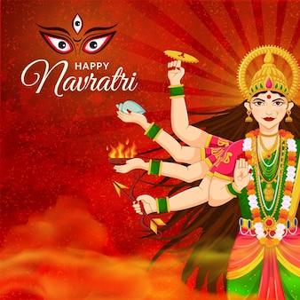 Gezicht van de godin durga shubh navratri-festival gelukkig dussehra en durga puja