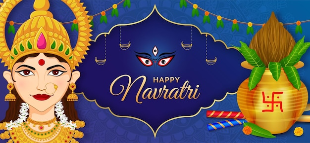 Gezicht van de godin durga shubh navratri festival happy dussehra en durga puja banner