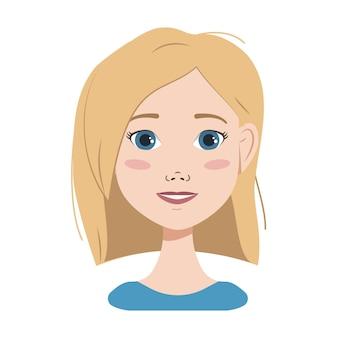 Gezicht van een vrouw met blond haar blauwe ogen