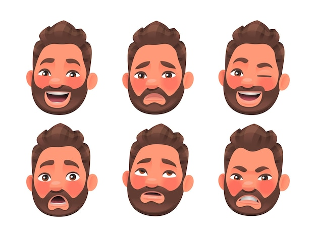 Gezicht van het karakter van een bebaarde man met verschillende emoties. gelach, woede, verrassing, verdriet. emoji. set van menselijke emotie expressies. vectorillustratie in cartoon-stijl