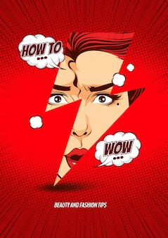 Gezicht vrouw in de bliksem, illustratie stripboek voorbladsjabloon.