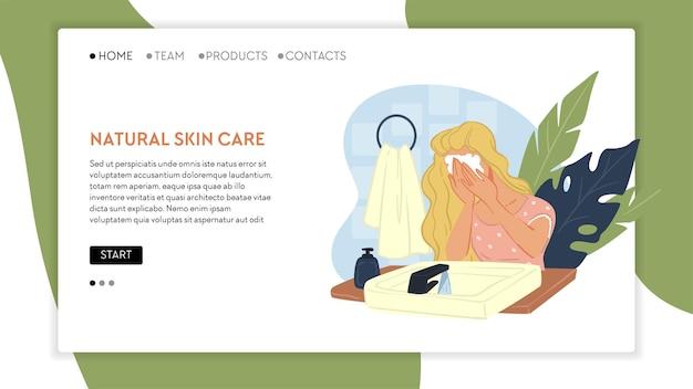 Gezicht wassen met zeep of speciaal schuim om zwarte poriën te reinigen en te verminderen. hygiëne- en cosmeticaproducten voor behandeling en eerste hulp. website- of webpagina-landingssjabloon, vector in vlakke stijl
