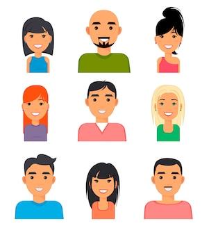 Gezichten pf mensen, pictogrammen, web avatars in vlakke stijl