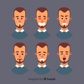 Gezichten van de mens met verschillende emoties