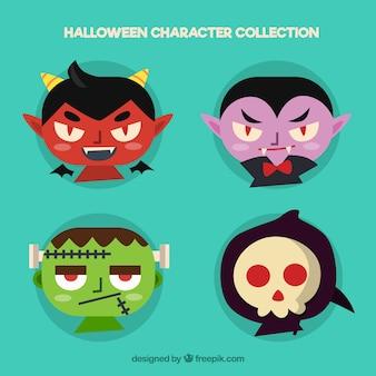 Gezichten van duivel, dracula, frankenstein en grim reaper