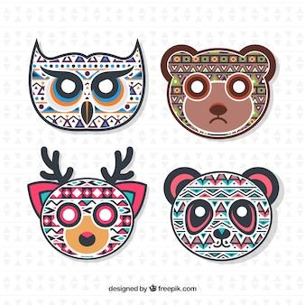 Gezichten van etnische decoratieve dieren