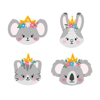 Gezichten van schattige dieren met bloemen en kronen op hun hoofdmouserabbitkat en koala