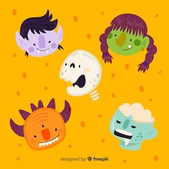 Gezichten voor platte halloween-tekencollectie