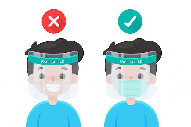 Gezichtsbescherming. hoe een gelaatsscherm te dragen dat goed is bij het dragen van een masker.