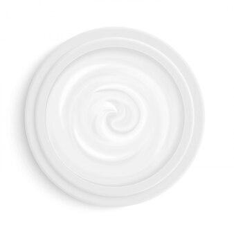 Gezichtscosmetische crème in bovenaanzicht van het pakket