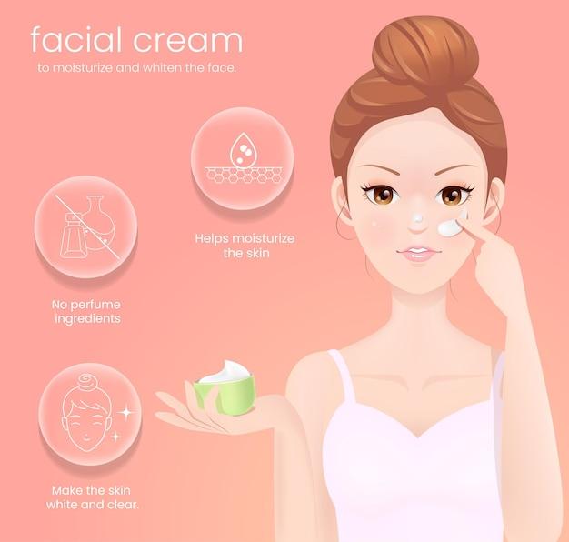 Gezichtscrème om het gezicht te hydrateren en witter te maken