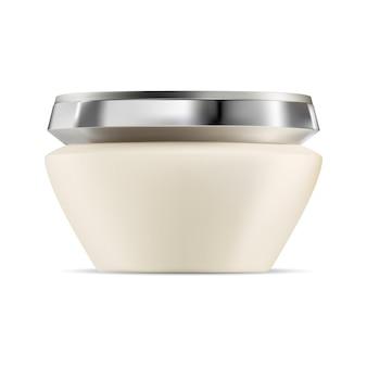 Gezichtscrème pot cosmetische crème fles huidverzorging schoonheid plastic verpakking met zilveren dop
