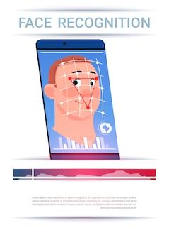 Gezichtsherkenning concept slimme telefoon scanning man moderne toegangscontrole technologie