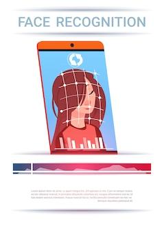 Gezichtsherkenning concept slimme telefoon scanning woman modern access control technology