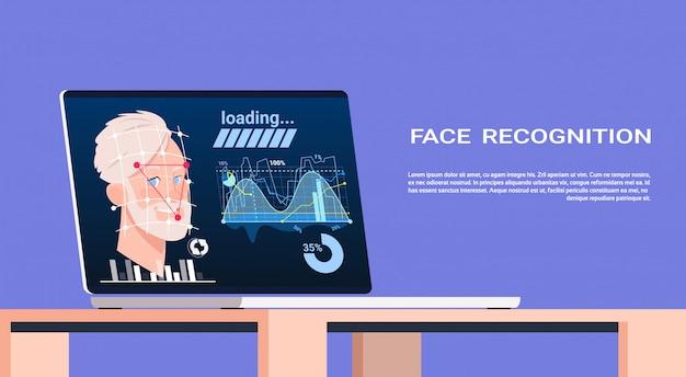 Gezichtsherkenning concepttechnologie van biometrisch scannen op laptop mannelijke gebruikersauthenticatietechnologie
