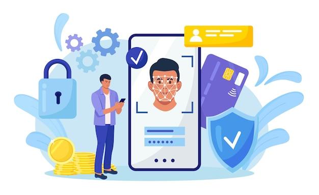 Gezichtsherkenning en gegevensbeveiliging. man krijgt toegang tot gegevens na biometrische controle. persoon houdt telefoon vast en scant het gezicht met mobiele applicatie. biometrische identificatie, gezichts-id-systeem