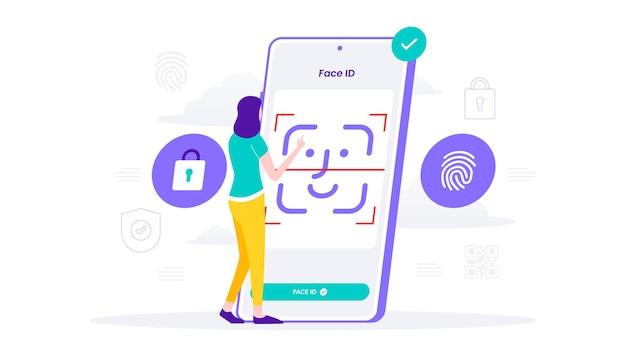 Gezichtsherkenning en gegevensbeveiliging mobiele telefoon, gebruiker krijgt toegang tot gegevens na biometrische controle voor verificatie. vlakke afbeelding