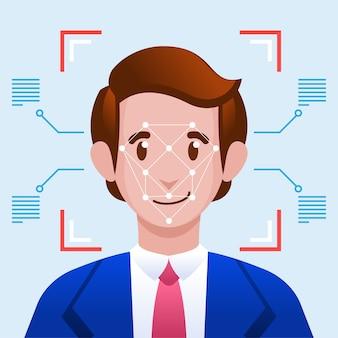 Gezichtsherkenning gezichtsherkenning systeemconcept.