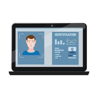Gezichtsherkenning. identificatie van een biometrisch persoon intellectueel herkenningssysteem