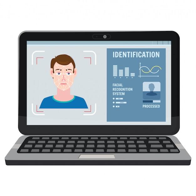Gezichtsherkenning. identificatie van een biometrische persoon, menselijk gezicht, man.