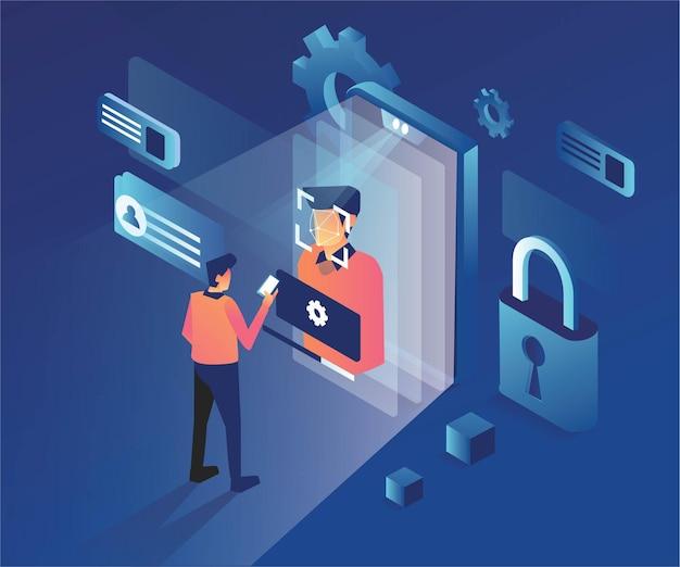 Gezichtsherkenning in mobiel app-proces met beveiligingsaanmelding