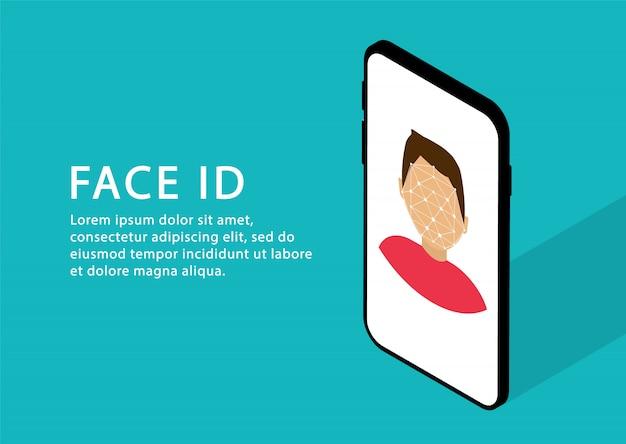 Gezichtsherkenning in telefoon. gezichts-id. identificatie persoon. isometrisch. moderne webpagina's.