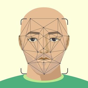 Gezichtsherkenning. man gezicht met baard scannen. video zoeken naar een crimineel.