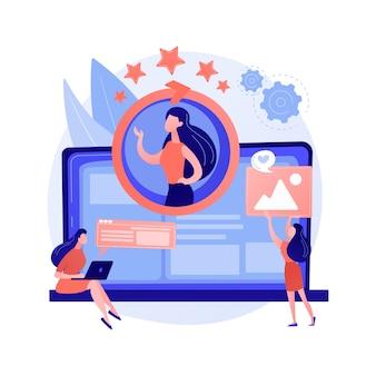 Gezichtsherkenning, persoonlijke identificatie, beveiligde toegang. profielinvoer, openen van gegevensopslag. vrouwelijke rekeninghouder stripfiguur.