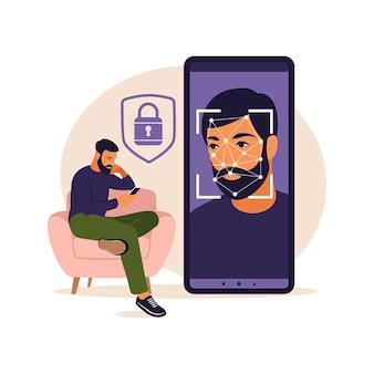 Gezichtsherkenning systeemconcept. face id, gezichtsherkenningssysteem. facial biometrisch identificatiesysteem scannen op smartphone. mobiele app voor gezichtsherkenning. illustratie