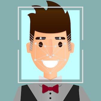 Gezichtsherkenningssysteem illustratie. biometrisch beveiligingsidentificatieconcept