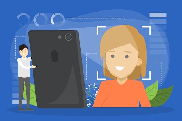 Gezichtsherkenningssysteem in het concept van mobiele telefoons