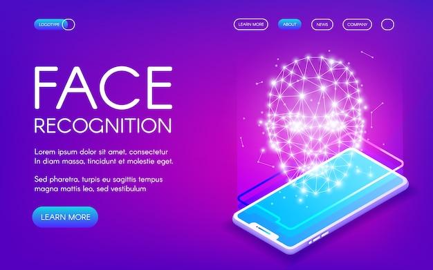 Gezichtsherkenningstechnologie illustratie van digitale scanner voor authenticatie van persoonlijke identiteit