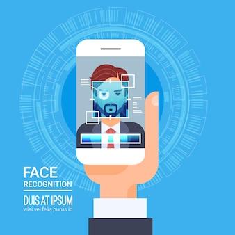 Gezichtsherkenningstechnologie slimme telefoon scannen oog retina biometrisch identificatiesysteem