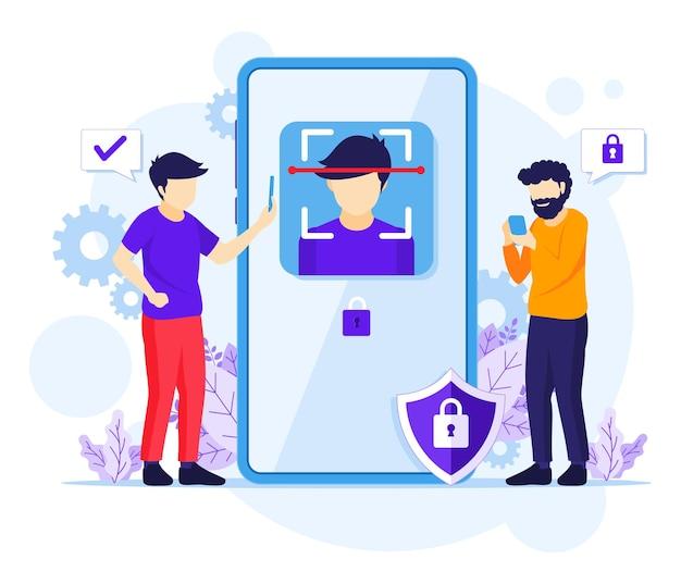 Gezichtsherkenningstechnologie systeemconcept. biometrische scanner identificatie illustratie