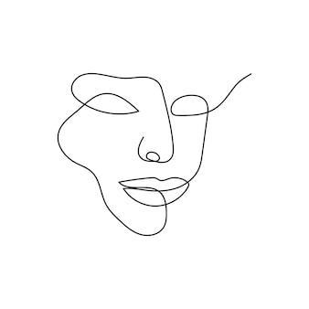 Gezichtskenmerken doorlopende lijntekening een lijnkunst van de kracht van de vrouwelijke silhouetvrouw