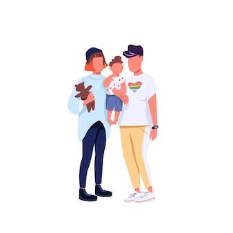 Gezichtsloze karakters in egale kleur van hetzelfde geslacht. generatie z-koppel, lgbtq-rechten. jonge lesbische vrouwen met kind geïsoleerde cartoon afbeelding voor web grafisch ontwerp en animatie
