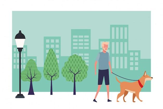 Gezichtsloze man wandelende hond
