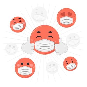 Gezichtsmasker emoji concept illustratie