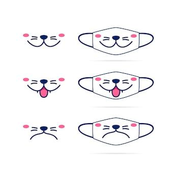 Gezichtsmasker met schattige kat hond huisdier mond gezicht illustratie