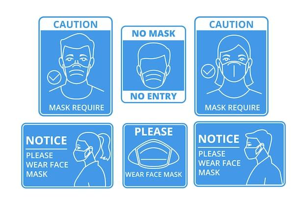 Gezichtsmasker vereiste tekens