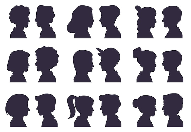 Gezichtsprofiel silhouetten. mannelijke en vrouwelijke hoofden silhouetten, vrouw en man avatar portretten platte vector