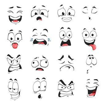Gezichtsuitdrukking geïsoleerde vector iconen, grappige cartoon emoji uitgeput, huilen en gek, boos, lachen en verdrietig