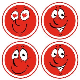 Gezichtsuitdrukkingen op rode cirkel